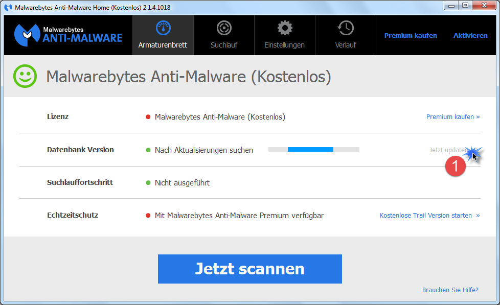 Trojaner entfernen mit MalwareBytes Anti-Malware