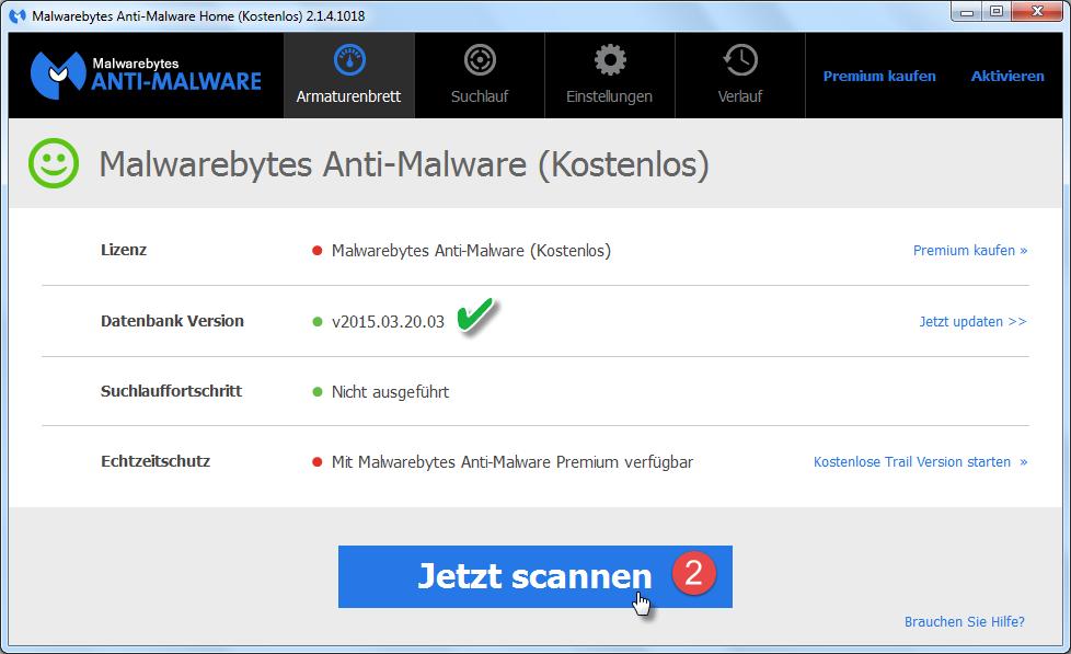 Starte den Suchlauf von Malwarebytes Anti-Malware